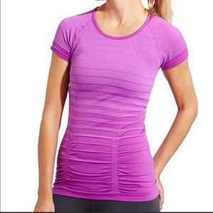 ATHLETA | purple stripe fastest track tee M